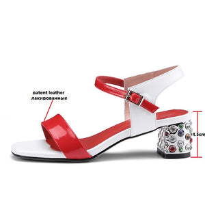 Genuine Patent Leather Buckle Strap Crystal High Heels Women Wedding Shoes