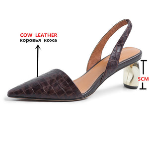 Genuine Leather Back Strap Pointed Toe High Heels Office Lady Shoes Woman