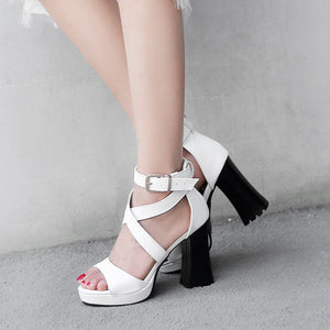 PU Gladiator Sandals Buckle Square High Heels Platform Party Shoes Woman