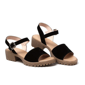 Women Sandals Med Heels Classic Flock Simple Buckle Strap Shoes