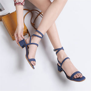 Women Sandals Simple Buckle Summer Solid Color Sexy High Heels Shoes