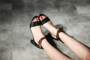 High Heels Buckle PU Soft Leather Woman Sandals Party Punk Shoes