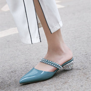 Summer Pointed Toe Shallow Shoes Women Slippers Genuine Leather Shoes