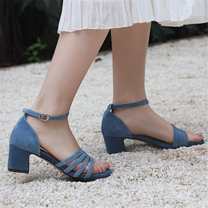Suede Leather Women Sandals Simple Buckle Casual Summer High Heels Shoes