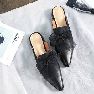 Women Sandals Pointed Toe Genuine Leather Party Wedding Low Heel Mules Shoes