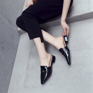Women Sandals Genuine Leather Pointed Toe Slip On Summer Square Heel Shoes