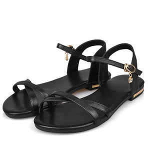 Women Summer Ankle Strap Flat Sandals Buckle Open Toe  Fashion Shoes