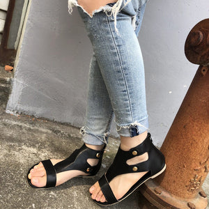 Summer Women Rome Sandals Soft PU Flats Cover Heel Gladiator Shoes