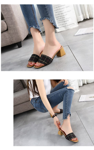 Woman Footwear Peep Toe Cotton Fabric Mules Chunky Thick Heels Slippers