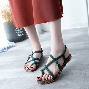 Summer Sandals Simple Flat Flip Toe Buckle Strap Decoration Women Shoes
