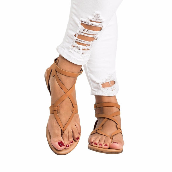 Women Summer Solid Casual Fashion Flat Buckle Strap Ankle Strap Shoes