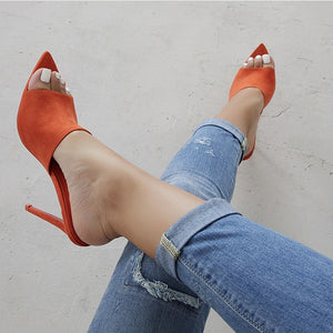 Pointed Toe High Heel Slippers Sandals Woman Shoes Candy Orange Blue Green Nude women shoes sandalias mujer 2019 feminina