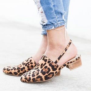 Women Sandals Fashion Leopard Square Heel Casual Shoes