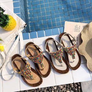 Women Sandals Summer Flats Beading Beach Clip Toe Flip Flops Vacation Shoes