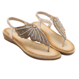 Women Sandals Simple Sweet Rhinestone Summer Fashion Comfortable Flat Shoes