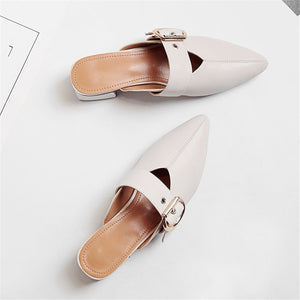 Slipper Fashion Pointed Toe Summer Genuine Leather Outside Lady Shoes