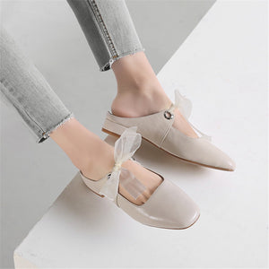 Genuine Leather Slippers Round Toe Outside Shallow Fashion Ladies Shoes