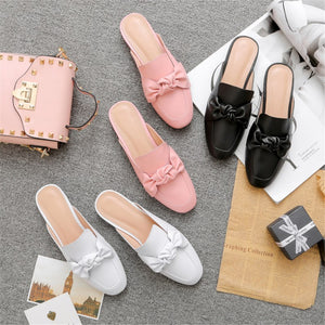 Women Slippers Genuine Leather Sweet  Fashion Square Heel Casual Shoes