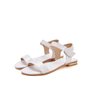Flat Sandals Genuine Leather Summer Simple Solid Comfortable Women Shoes