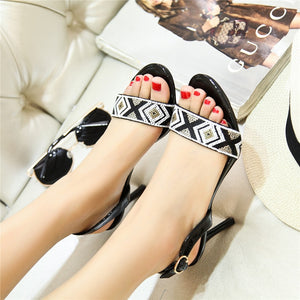 Fashion Beading Women High Heels Sandals Summer Genuine Leather Wedding Shoes