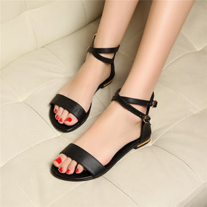 Flat Heels Genuine Leather Cross-Strap Women's Shoes Leisure Summer Sandals