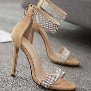 Luxury Quality Crystals Summer Sandals Sexy High Heels Elegant Party Shoes Women