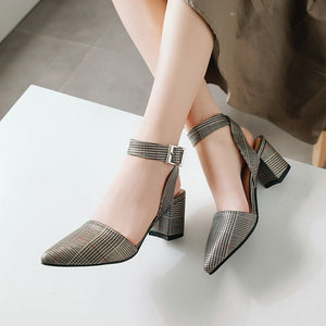 Fashion Big Ankle Strap Pointed Toe Sandals Women High Heels