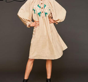 Floral Emobroidery With Pocket Button Long Lantern Sleeve Vestidos Bohemian