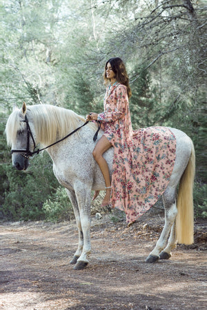 Floral Print Waist Tied Long Sleeve Holiday Bohemian Maxi Dress