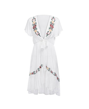 Sexy Floral Embroidery V-neck Irregular  Brief Butterfly Sleeve Dresses