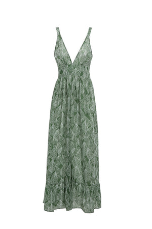 Leaves Print Spaghetti Strap Dress Vestidos V Neck High Waist Beach Bohemian