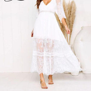 Hollow Out Lace V Neck Maxi Dress Plus Size Sexy Backless White Bohemian