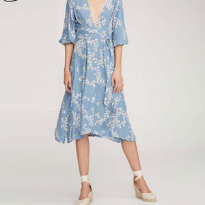 Sexy V-neck Boho Floral Printed  Bohemian Button Flare Sleeve  With Sashes