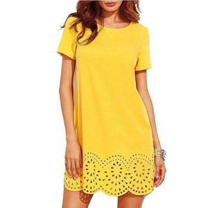 Casual Slim Short Sleeve Party Mini Bodycon O-neck Vestidos 3 Colors Loose Dress