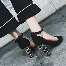 Hot Selling  Strange Style Peep Toe Metal high Heel Buckle Pumps
