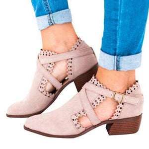 Gladiator Fashion  Low Heels Pumps Thick With Carved Buckle Ladies Shoes