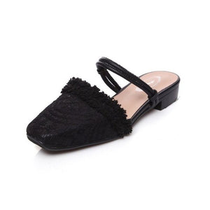 Real Genuine Leather Flats Sandals Lace Fringe Square Toe Flats Slippers