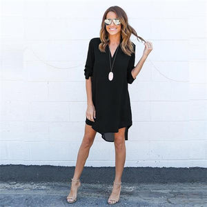 Chiffon Short Summer Cute Boho Sexy Solid Color Long Sleeve Dress