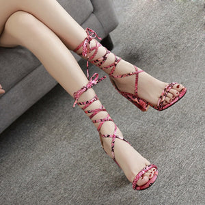 Summer Shoes Thick Buckle Party Leopard Sexy Bandage sandals
