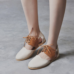 fashion  Round Toe Rome Hit Color Hollow Lace-Up Flat Single Shoes