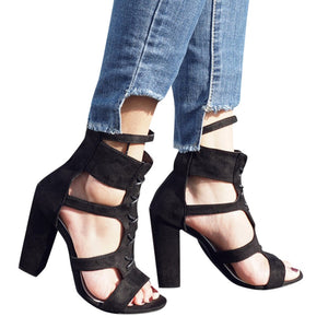 thick heel Ladies Sandals Pointed Toe High Heels Zip Office Solid Straps