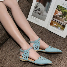 Flats Shoes Cover Toe Solid Shallow Buckle Strap Fashion Elegant sandals