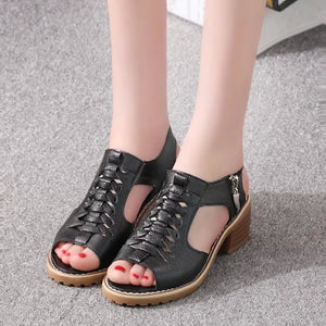 Platform Women Shoes Side Zipper Sandals Retro Open Toe