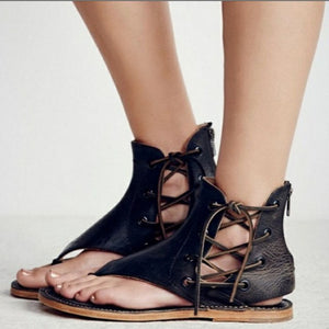 Sexy Lace Up Ladies Beach Shoes Flat Heels Women Sandals