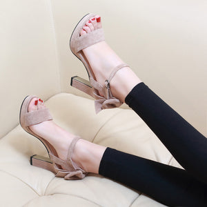 Buckle Strap High Heels Sandals Ruffle  Solid Fashion Thin Heels Talon