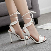 Sexy Cross Strap Lace-Up Ruffles Lady Dress Stiletto High Heels Peep Toe Sandals