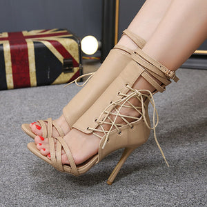 Roman Buckle Strap Shoes Women Sexy Sandals High Heels  Ankle Boots