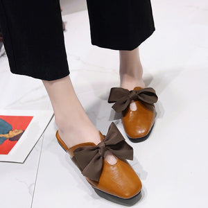 Vintage Bow Tie Soft Bottom Wild  shoes and  Lace-up Shallow Casual Sandals Slipper