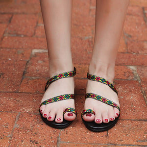 Fashion Ankle Flat Sandals Simple Shoes Party Cloth Flat Bottom