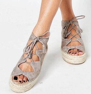 Wedge Shoes Mid Feels Lace Up Peep Toe Flats Sandals